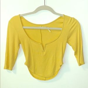 Small Yellow Long Sleeve Crop Top By Kimchi Blue